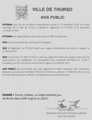 2021 02 23 avis public approbation MRC - Ville de Thurso