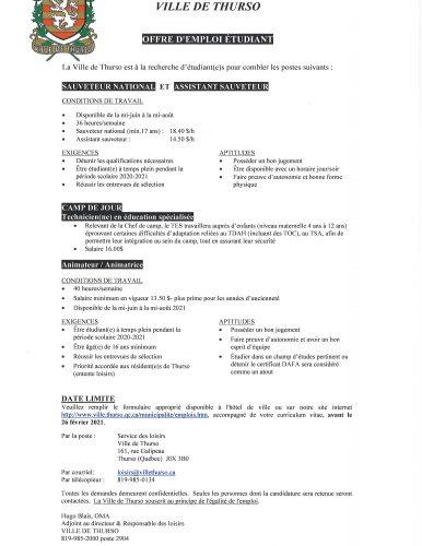 avis offre emploi etudiant 2021 - Ville de Thurso