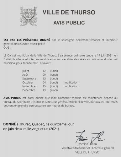 2021 06 15 avis public modification calendrier seances - Ville de Thurso