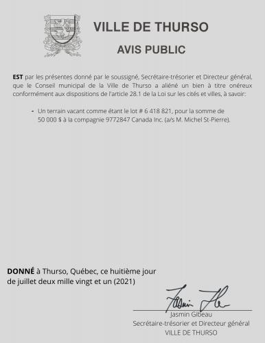 2021 07 08 avis public alienation bien - Ville de Thurso