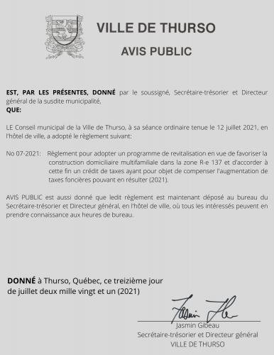 2021 07 13 avis public adoption reg 07 2021 - Ville de Thurso