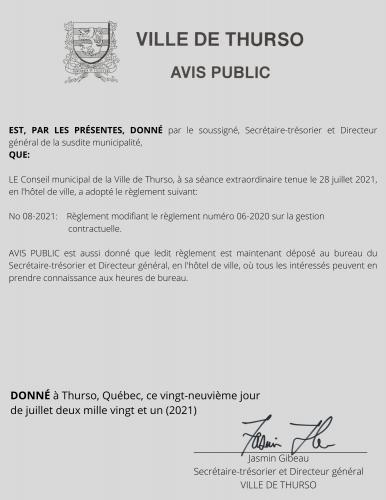 2021 07 29 avis public adoption reg 08 2021 - Ville de Thurso