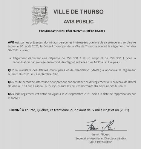 2021 09 28 avis public promulgation reglement 09 2021 - Ville de Thurso